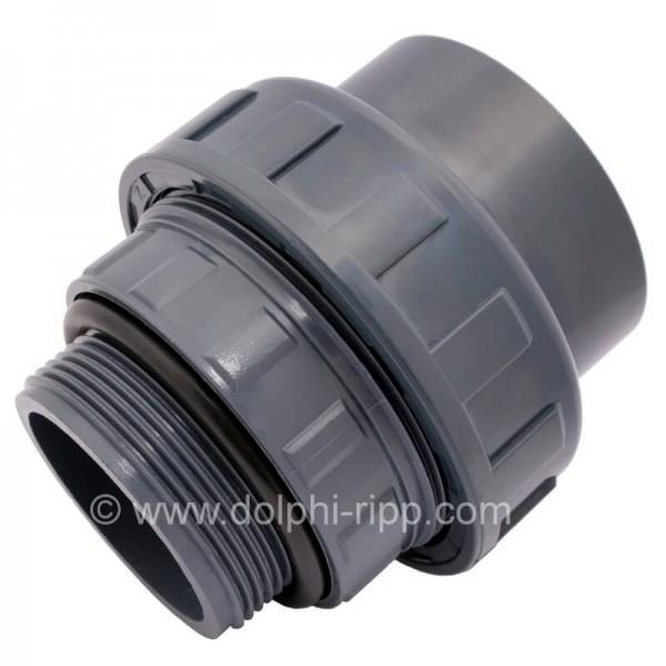 PVC Verschraubung 50 mm Klebemuffe x 1 1/2 Zoll AG und O-Ring