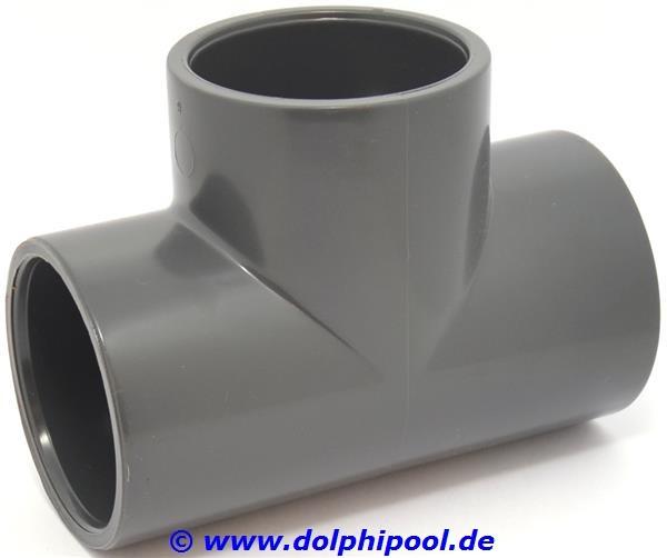 PVC T-Stück Klebemuffe 3 x 63 mm PN16
