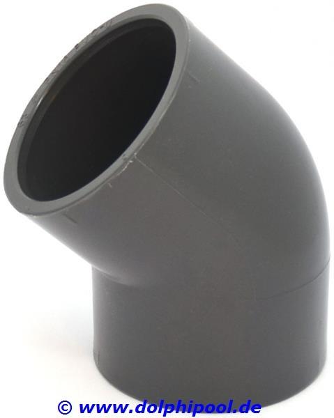 PVC Winkel 45 Grad Klebemuffe 2 x 63 mm PN16