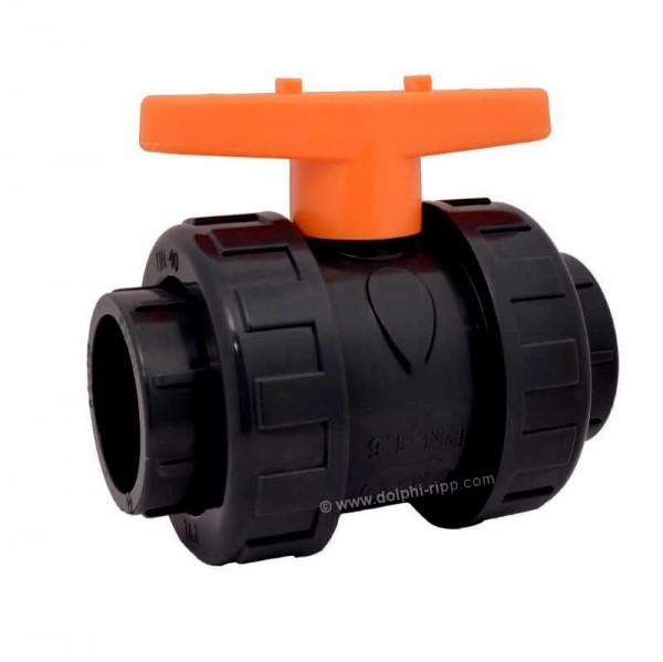 PVC schwarz Kugelhahn 2 Wege 50 mm Klebemuffe PN16