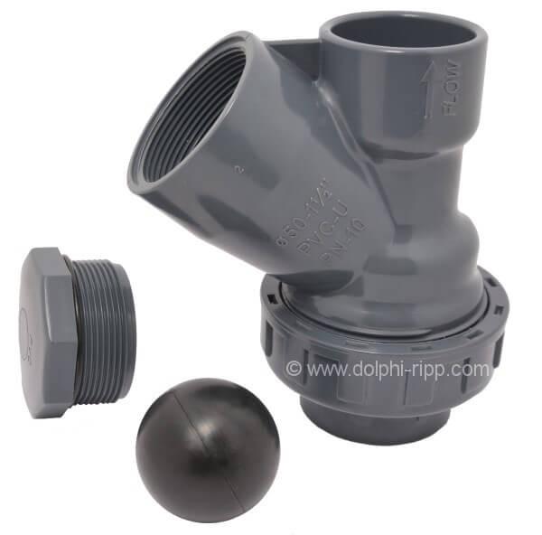 PVC Rückschlagventil Schrägsitz 50 mm Klebemuffe PN10
